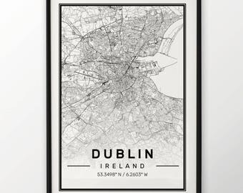 Dublin City Map Print, Modern Contemporary poster in sizes 50x70 fit for Ikea frame All city available London, New york Paris Madrid Rome