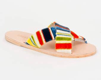 WREN multicolor striped fabric slide