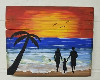 Hand Painted Beach Sunset/ Family Silhouette on Reclaimed Wood