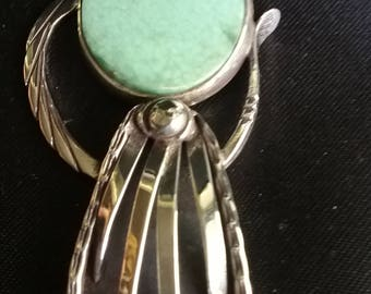 One of a Kind Sterling Silver Pendant With Teardrop Variscite