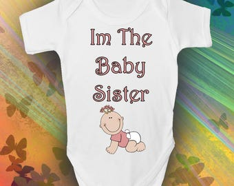 Im The Baby Sister Baby Grow - Cool Retro Baby Romper