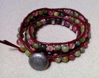 Red Brown Leather Three Wrap Bracelet
