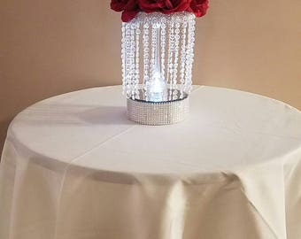 Chandelier centerpiece with flowers