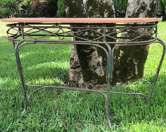 Metal frame table with red wood top, reclaimed wooden accent table, repurposed metal table,  032
