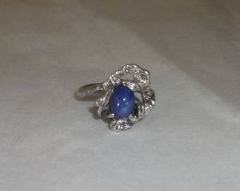 Silver Twig Branch & Leaf design Ring with Blue Linde Star