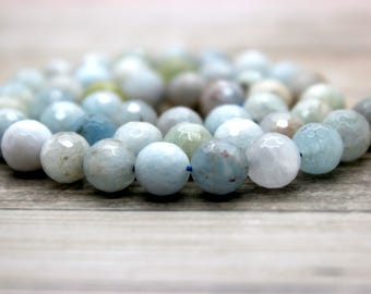 Aquamarine Faceted Round Beads Natural Gemstone (5mm 6mm 8mm 10mm 12mm 14mm 16mm)