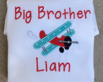 Big Brother Airplane Appliqué T-Shirt