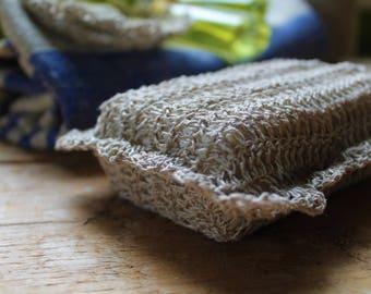 Crocheted linen scrubbies for soap, scrubing pad, Exfoliating Soap Scrub, eco soap bag, eco friendly