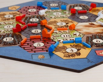 Settlers of Catan Board | Birch, Custom, Wood, Laser Cut