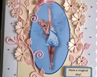 Beautiful Handmade Fantasy Fairy and Flowers Card