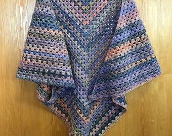 Crochet Shawl Wrap Handmade Chunky Yarn Pink Purple
