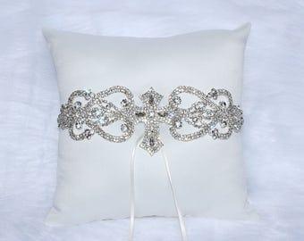 Rhinestone Ring Bearer Pillow with Cross Embellishment