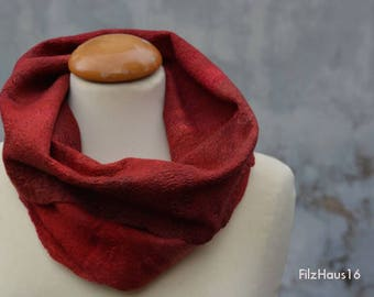 Loop, Snood, scarf, red, felt, wool, Merino, silk, handmade in the FilzHaus16