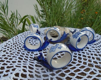 6 porcelain napkins rings