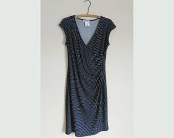 Ruched Dress / Polkadot Dress / V Neck Dress / Party Dress / Cocktail Dress / Midi Dress / Elegant Dress / Evening Dress / 1970s Dress
