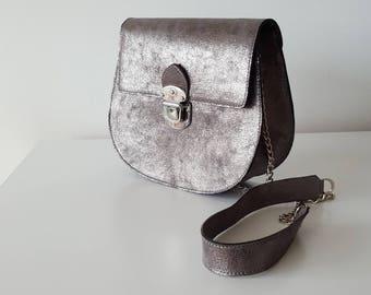Leather crossbody bag.