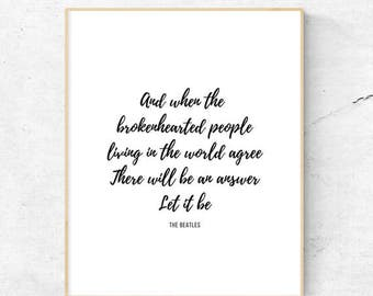 The Beatles | Let It Be | Printable | 8.5x11, 8x10