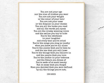 Poetry | Not by Erin Hansen | Printable | 8.5x11 | 8x10