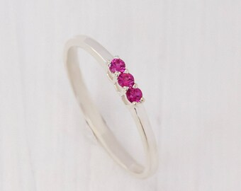 Stacking ring, Silver minimalist ring, Ruby ring, Small ring, Tiny ring, Delicate ring, Silver ruby ring, Rose stone ring, Dainty ring