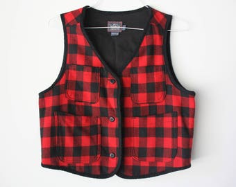 Vintage Red and Black Plaid Woolrich Wool Vest Made in USA