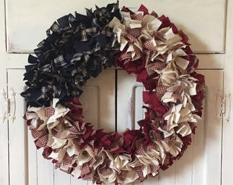 Patriotic Wreath - Patriotic Rag Wreath - 4th of July - Memorial Day - Fabric Wreath - Farmhouse Wreath - Country Decor - Red White Blue