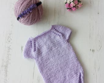 Knitted Baby Romper/Baby Girlromper/Maching headband/Newborn Props Romper/Photography Prop/Knitted Baby Props/Photo Prop Set/Ready to ship
