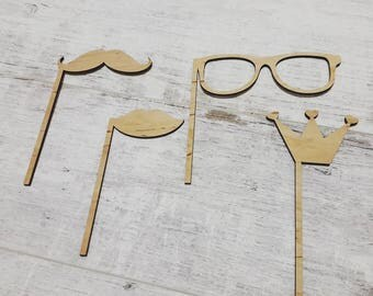 Wedding Photobooth Props - glasses, crown, lips, whiskers - Photo Props - Wedding Photo props