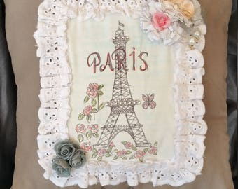 Handmade, hand painted, Eiffel Tower, Paris, shabby chic cushion