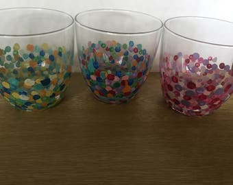Dotty Design Hand Decorated Mixer Glasses