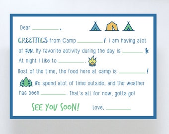 Camp Stationary/Summer Camp/Fill in the blank