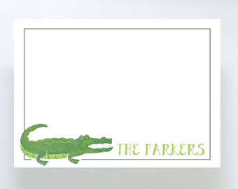 Watercolor Alligator Stationary // Personalized Notecard