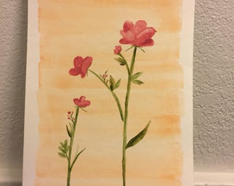 Watercolor pink flowers 6x9