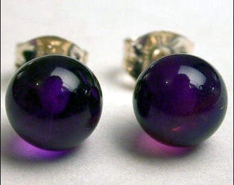 Amethyst 6mm Round Studs Earrings - Sterling Silver