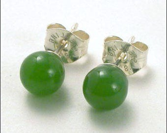 Jade 5mm Round Studs Earrings - Sterling Silver