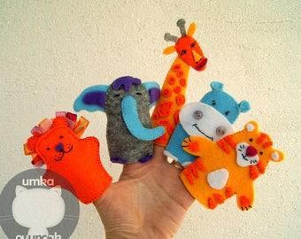 Finger puppets Safari Animals.Finger toys Animal finger puppets Finger family puppets Felt puppets Puppets for kids Finger puppet elephant