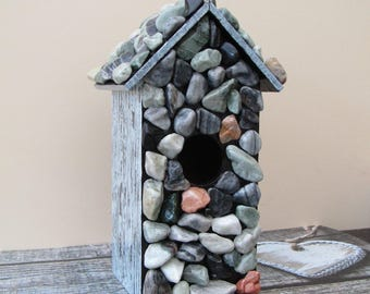 Beautiful handmade Pebble MOSAIC Birdhouse / bird box
