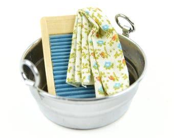 "Wash Basin with a Mini Washboard and Towel - 2"" Width - Miniature Fairy Garden Dollhouse"