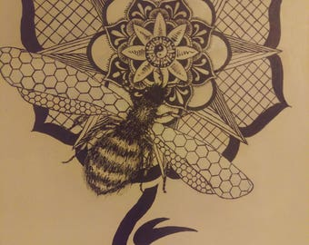 "Painting - Mandala Bee Tattoo - One of a kind - 16""x20"" - Commissions Accepted"