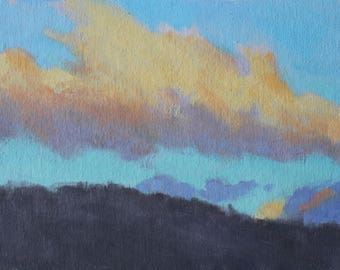Original 6x8 Oil Painting Clouds Over Hill