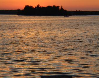 Sun Setting Behind Island