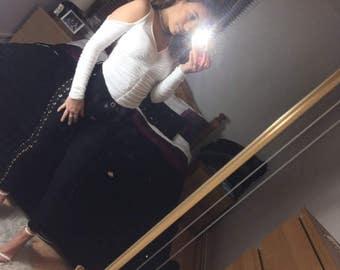 sasha white ruched cold shoulder bodysuit