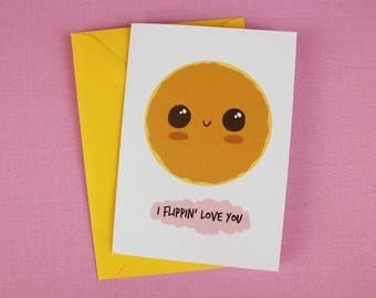 Pancake Card / Valentine's love / Valentines Card / Valentine's gift / I love you card / Cute Love card / Card for him / Card for her.