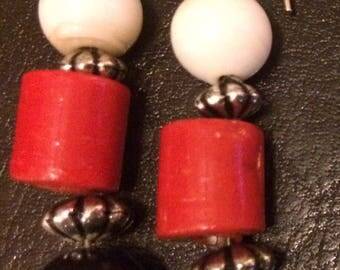 Red, Black and White Bead Drop Earrings