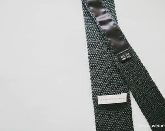 Handmade Gray 100% Silk Knitted Tie.. Neck Tie, Men's Tie, Father's Day