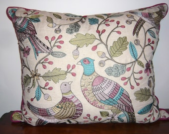 Embroidered linen mix embroidered pheasant cushion cover in wisteria colour way with magenta back