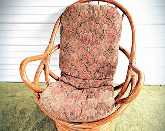 Rattan swivel rocker with Vintage mid century modern cushion