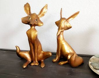 SALE!!! Anthony Freeman McFarlin pottery Mr & Mrs. Fox pair in gold leaf