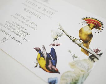 Botanical Bird Wedding Invitation Template