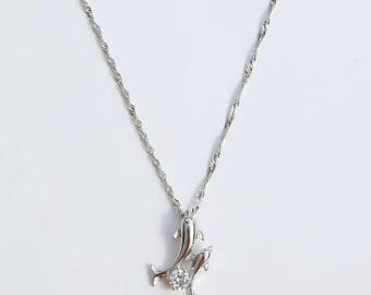 Twin Dolphin Silver Necklace