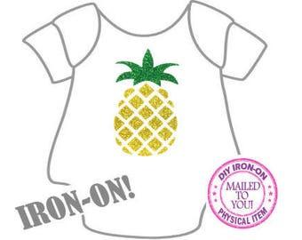 Diy PINEAPPLE IRON ON, Vinyl Applique, Logo, Decal, Hawaii, Tropical, Hawaiian, Shirt, Toddler, Child, Adult, Clothing, Hula, Tiki, Aloha